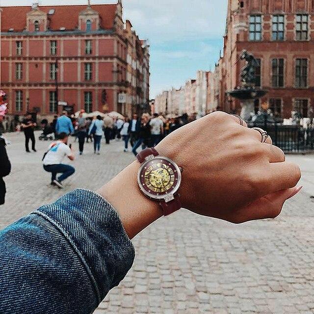 FORSINING New Fashion Vintage Mechanical Women Watches Top Brand Luxury Gold Skeleton Leather Strap Ladies Watch часы женские 6