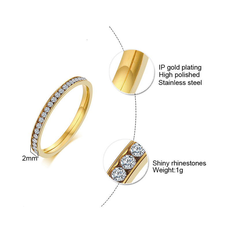 Vnox 2mm Bling CZ Stones Ring for Women Lady Gold Tone Stainless Steel Shinny Crystal Finger Band Elegant Jewelry 3