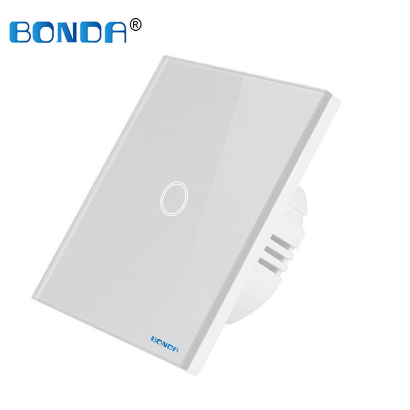BONDA touch switch, EU standard, white crystal, glass panel, touch switch, Ac220v, 1 set, 1 way, wall light, wall touch screen 5