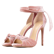 2019 New Arrivals Sandals Flock Butterfly Knot Open Toe Summer Shoes Ankle Lace Up Cut Out Elegant Woman Sandals Shoes miquinha 2017 new designer trend butterfly knot bow knot rome sandals gladiator shoes ladies open toe flats shoes women sandals