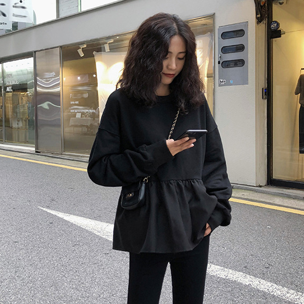 Womens Loose Sweatshirt Hooded Splice Solid Ruffle Fold Long Sleeve O-Neck Hoodies 2019 Tops Female Pullovers