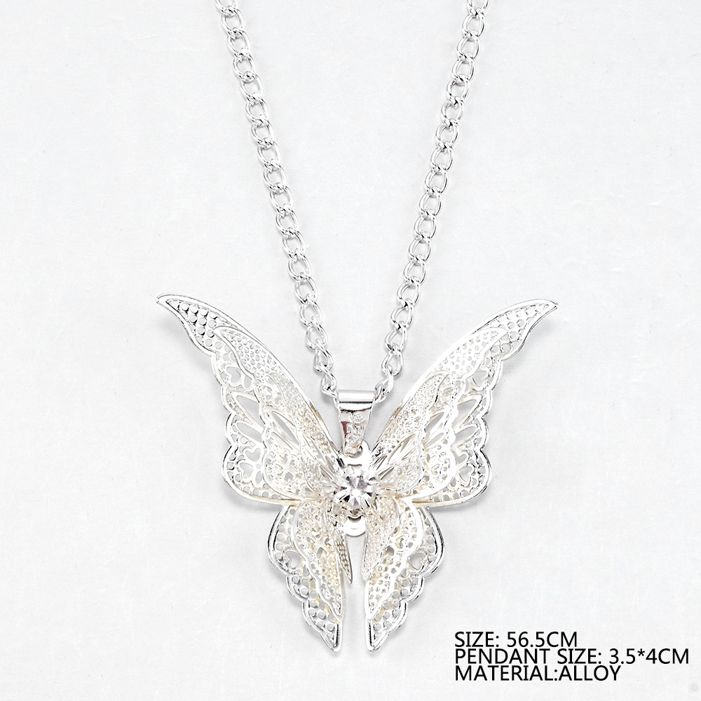 2020 High Quanlity Women Lady Elegant Openwork Butterfly Pendant Long Chain Necklace Sweater Accessories Necklace Jewelry 5