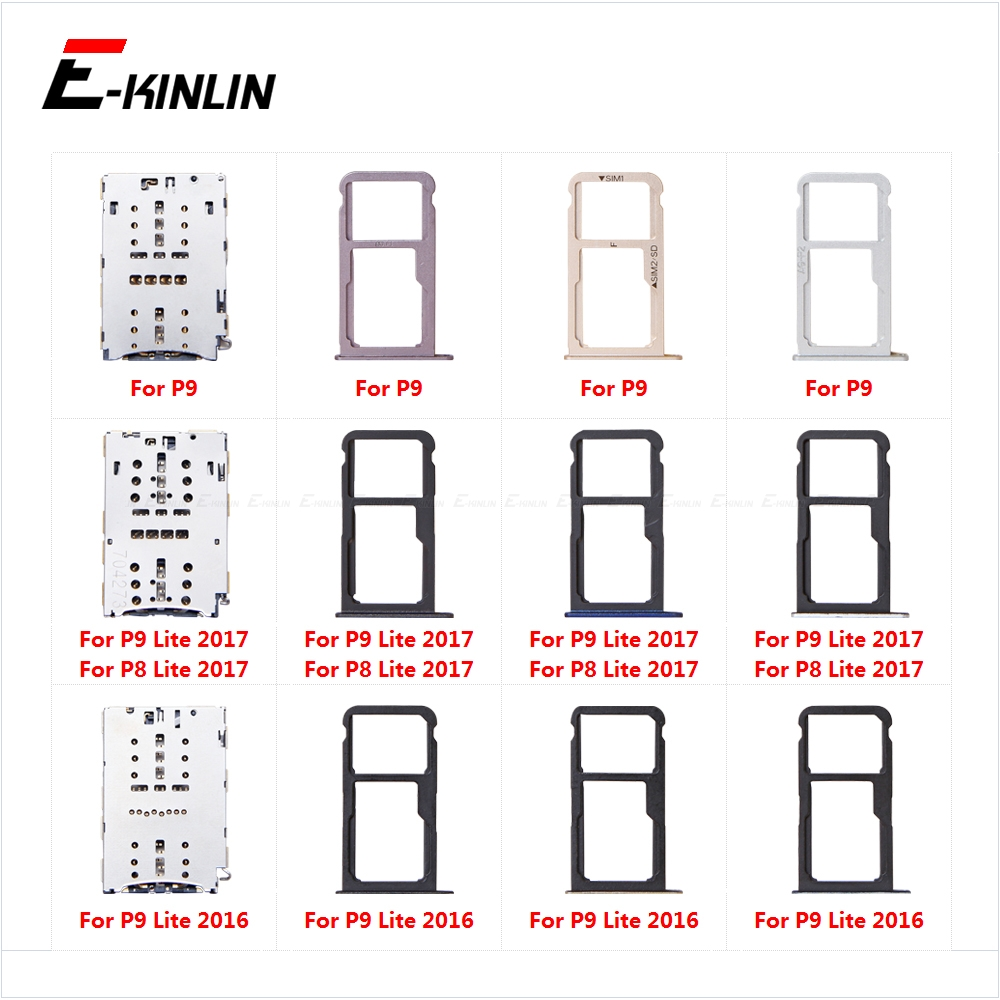 Sim Card Socket Slot Tray Reader Holder Connector Micro SD Adapter Container For For HuaWei P9 P8 Lite 2017 2016
