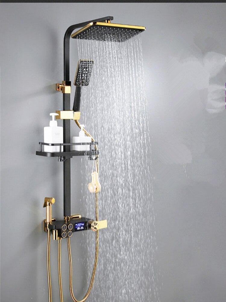 H2e448a53a1c74300bcc2accdea9a7599m Digital Shower Set Matte Black Batroom Faucet Hot Cold Bath Shower System Copper Bath Bidet Luxury Black Thermostatic Shower Set
