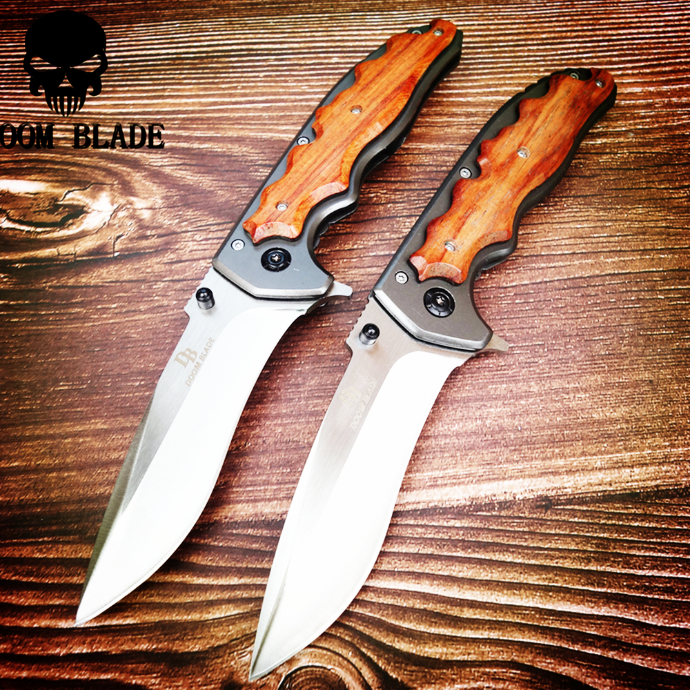 230mm 5CR15MOV Blade Quick Open Knives Portable Tactical Folding Knife Color Wood Handle Camping Survival Pocket Knives Outdoor(China)