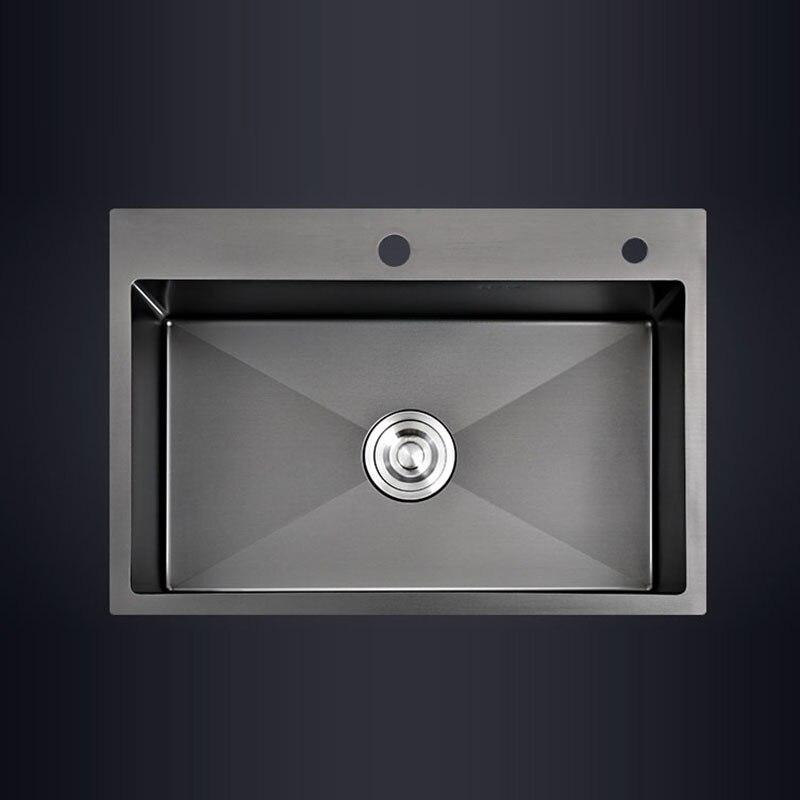 Черная Одиночная кухонная раковина над прилавком или утяжелением для мытья овощей раковина для кухни черная раковина из нержавеющей стали ...