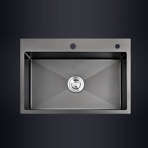 Black single kitchen sink above counter or udermount vegetable washing basin sink kitchen black stainless steel pia black sink(China)