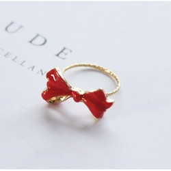 Red Bow-Knot Ring 2019 New Fashion Jewelry Vintage Accessory Elegant for Women Girls Trendy Style