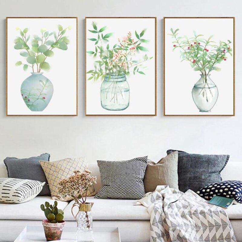 Blume Vase Leinwand Poster Nordic Stil Wand Kunstdruck Poster Malerei Dekoration Bild Wohnzimmer Wohnkultur