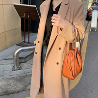 2019 black Wool Trench Coat Feminino Office Ladies Winter Casual Vintage khaki Women Long Trench Coats Autumn Overcoat FY62
