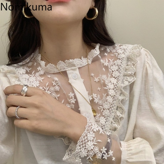 Nomikuma Elegant Vintage Stand Collar Long Sleeve Shirts Lace Patchwork See Through Fashion New Tops Blouse Women Blusas 3a236 5