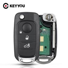 KEYYOU plegable Fob para Fiat 500X Egea Tipo 2016, 2017, 2018 Flip remoto control remoto de coche 3/4 botones 433,92 Mhz 4A Chip SIP22 hoja