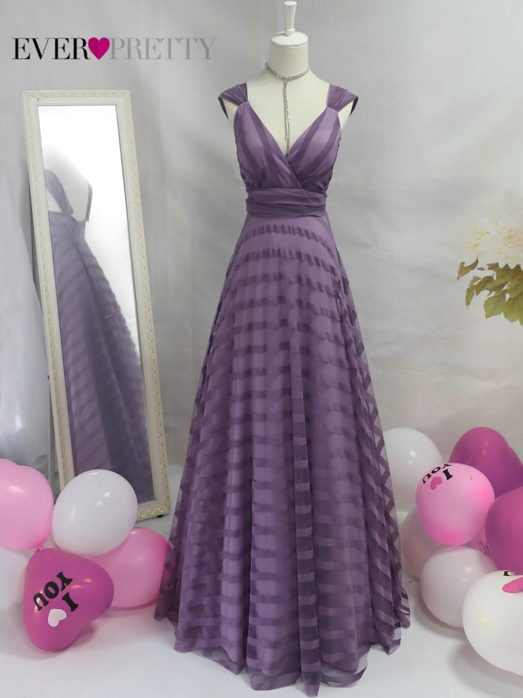Sexy Lavender Prom Dress Long Ever Pretty EP07898LV A Line V Neck Striped Elegant Formal Party