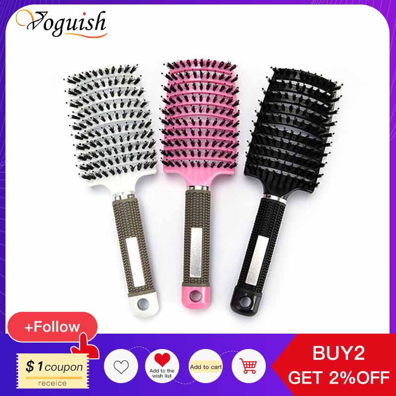 1Pcs Hairdressing Comb Anti-Static Curved Massage Comb Comb Styling Curly Hair Head Massager Brushy Hairbrush Professional Tools