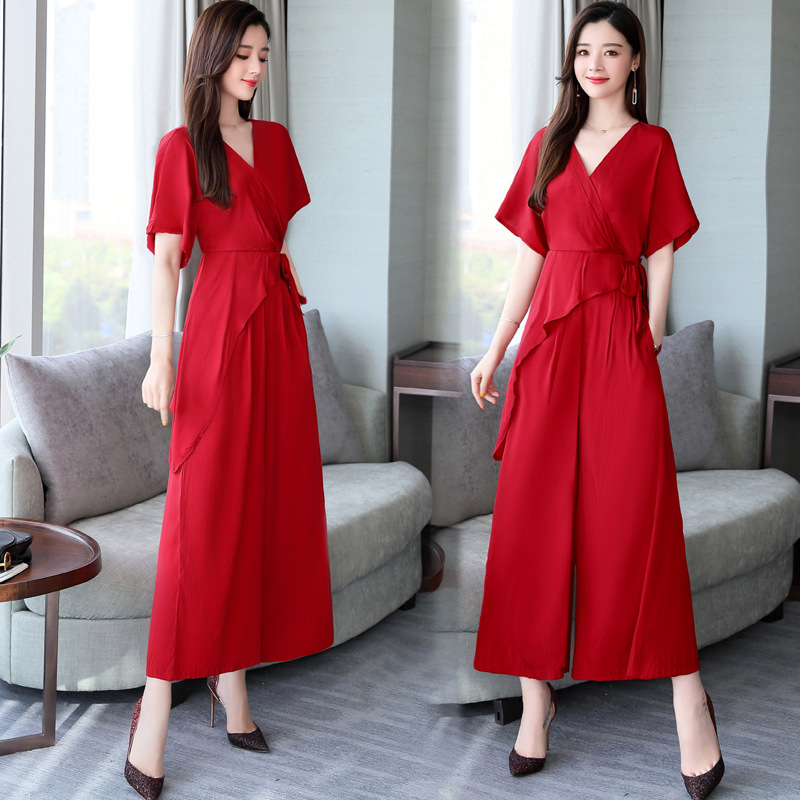 High Cold Royal Sister Wind WOMEN'S Suit 2019 New Style Summer Elegant Fashion Western Style Tall Wide-Leg Trousers Two-Piece Se