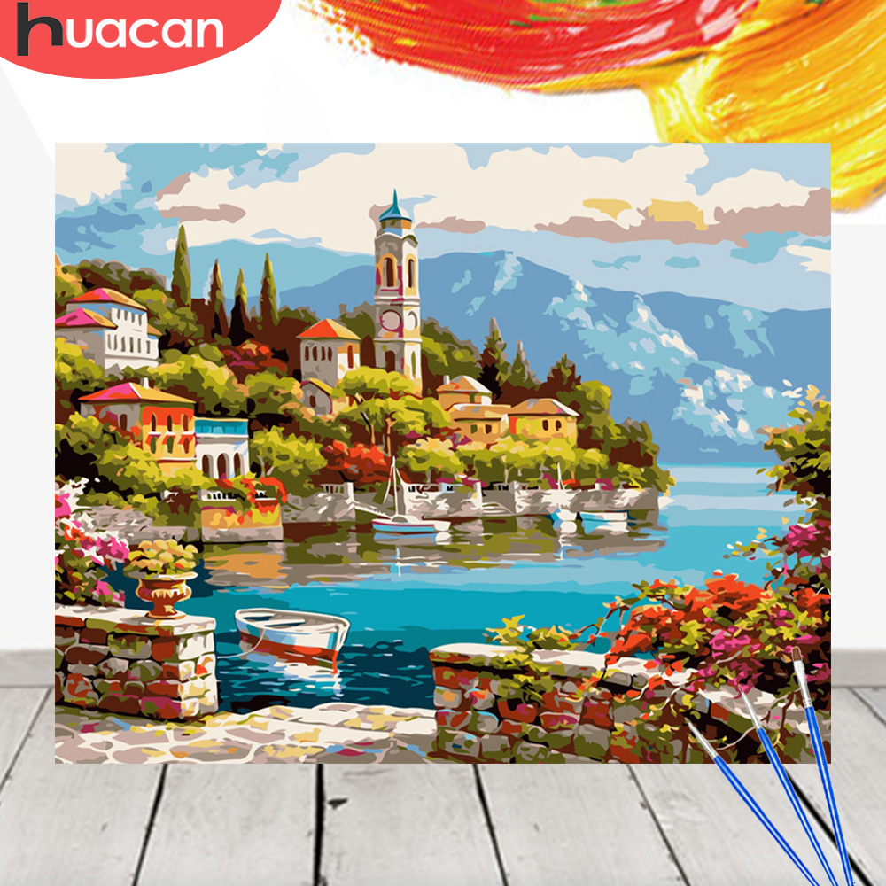 HUACAN Coloring By Numbers Scenery Acrylic Drawing Canvas Picture Wall Art DIY Oil Painting Seaside City Home Decor Gift
