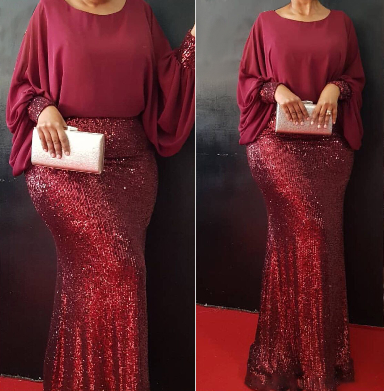 New African Sequin Red Dress Clothes Kenya South Africa Evening Party Dress Super High Quality Women Vestidos Robe Africaine