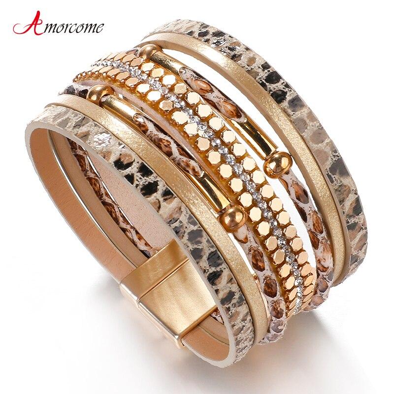 Amorcome Bracelets Jewelry Snakeskin-Pattern Female Metal Trendy Women Multilayer-Wrap