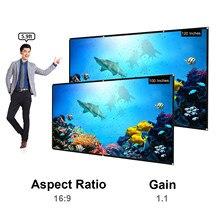 أحدث 16:9 شاشة عرض 100 بوصة 120 بوصة شاشة عرض محمولة عالية الدقة شاشة حائط سميكة قابلة للطي للمسرح المنزلي في الهواء الطلق