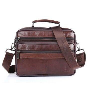 men's shoulder bag leather bag fashion messenger bags flap zipper designer male solid crossbody Flap Male Luxury Handbag
