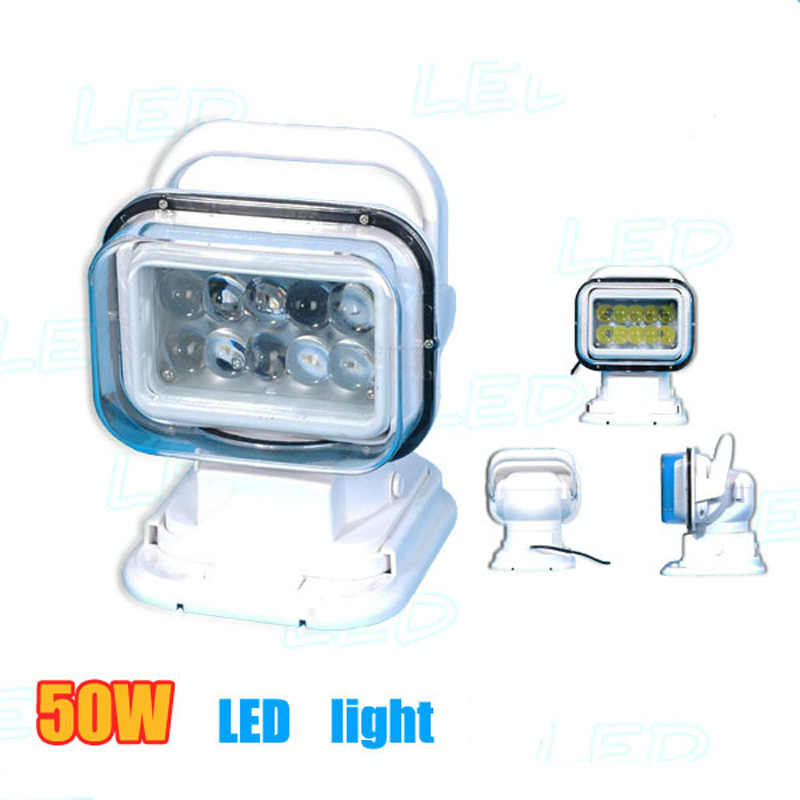 Hot 50W 7inch LED Spot Light With Remote Control Searching light Lamp Hunting Marine Boat Camp