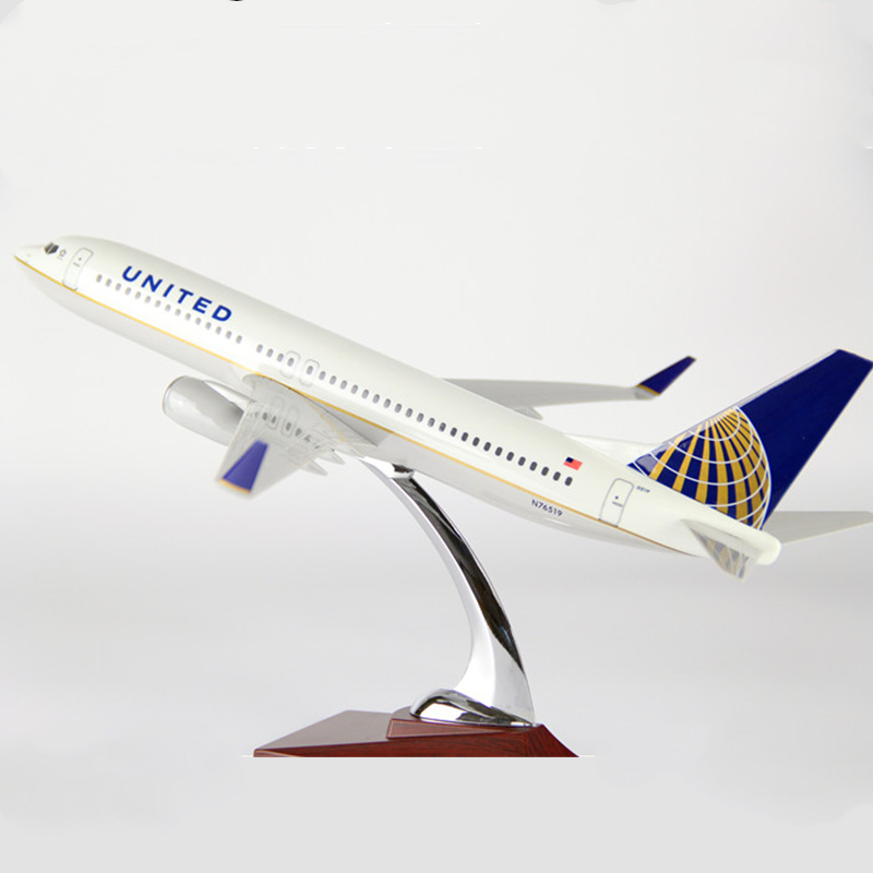 40cm United Airlines Boeing B737 Airplanes Resin Diecast Plane Model Gift Aircraft Model Collectible image
