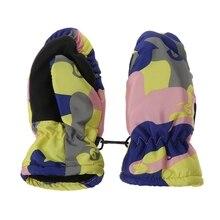 Детские зимние водонепроницаемые теплые варежки для мальчиков и девочек, детские уличные лыжные перчатки 19QF