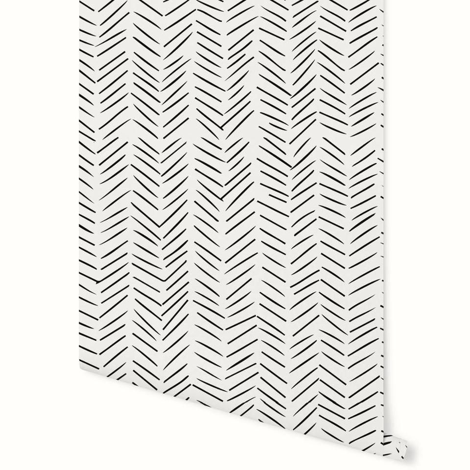 Modern Delicate Herringbone Wallpaper In Black And White Scandinavian Design Minimalist Chevron Removable Non Woven Wallpaper Wallpapers Aliexpress