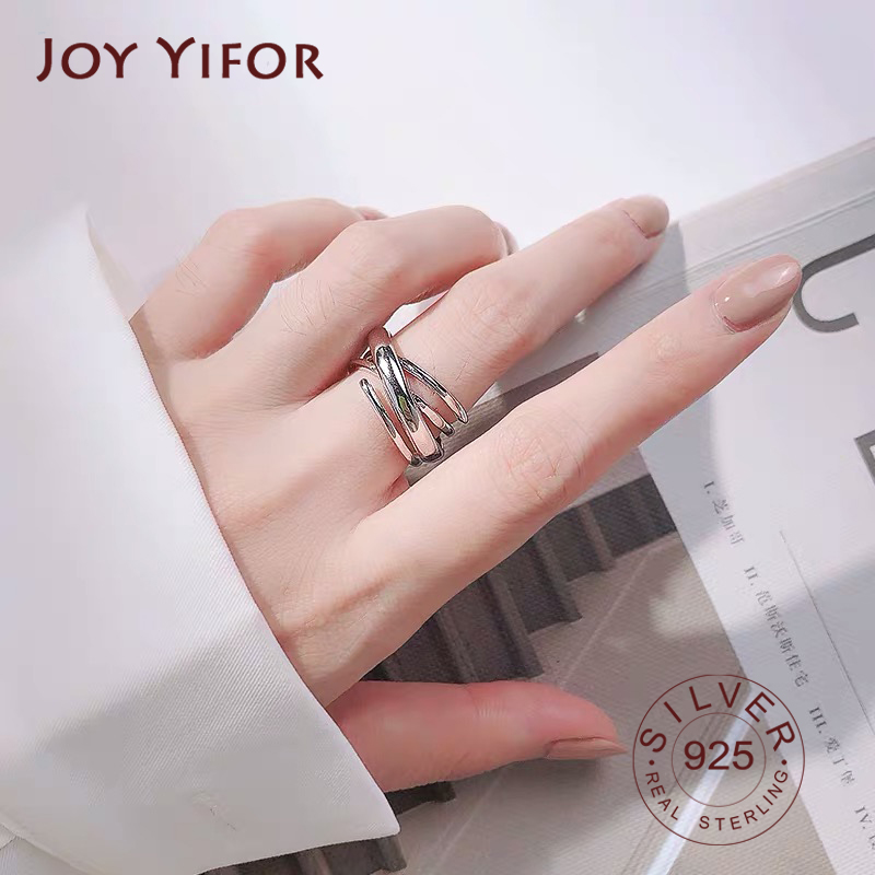 Wholesale Personality Fashion OL Woman Girl Party Wedding Gift Silver Three Circles 925 Sterling Silver Ring