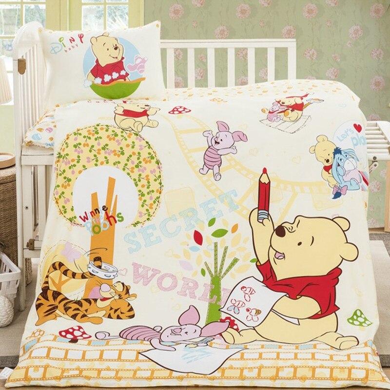 Disney Winnie Pooh Bär Bettwäsche Sets Baby Bett Minnie Mickey Maus Prinzessin Cartoon Baumwolle Duvet Quilt Abdeckung Jungen Mädchen Kinder geschenk