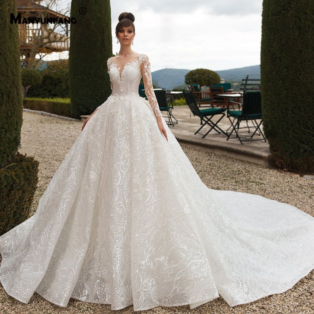 MANYUNFANG Sheer Back Wedding Dress Long Sleeves Luxury Abendkleider 2020 Big Train Abito Sposa Nero Lace African Wedding D