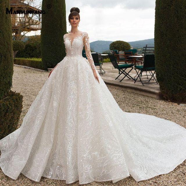 Vestido de boda de manga larga con espalda transparente, abendkleider 2020