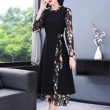Vintage Black Floral 4XL Plus Size Casual Midi Dresses 2021 Autumn Winter Office Lady Dress Women Elegant Bodycon Party Vestidos