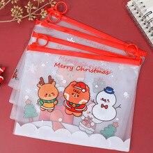 File-Holder Stationery Zipper-Bag Office-Storage-Supplies Transparent PVC Student Christmas