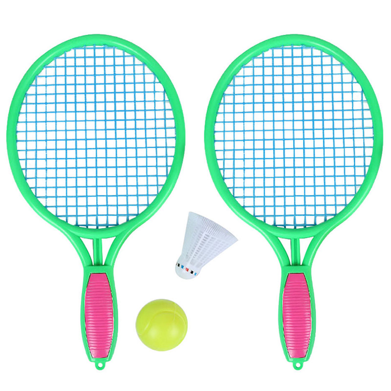 New Beach Tennis Racket Children'S Outdoor Sports Tennis Racket With Badminton Ball Green