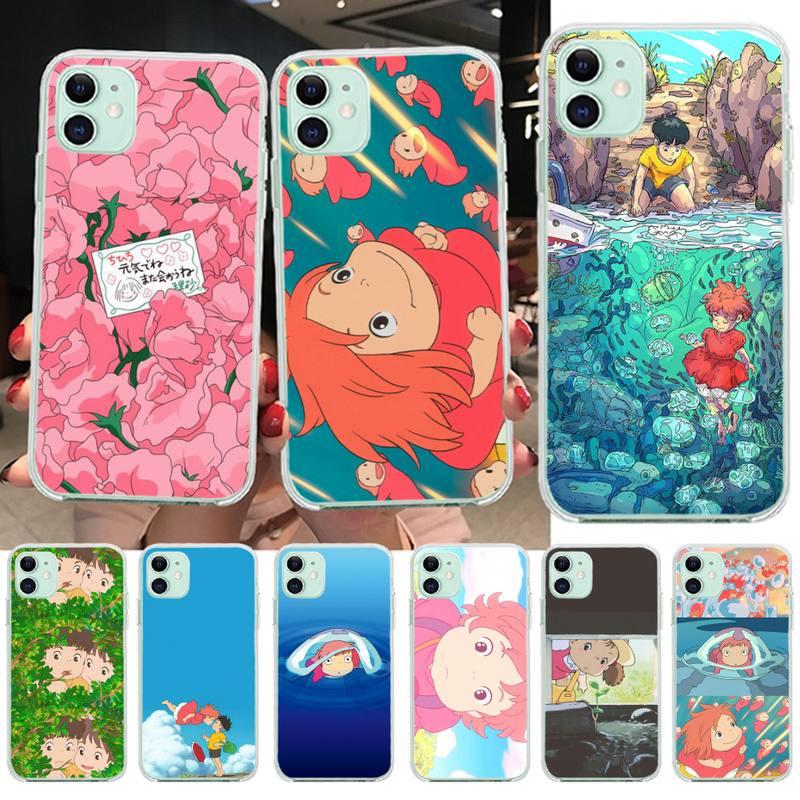 Penghuwan Kartun Ponyo Di Tebing Diy Printing Phone Case Capa Untuk Iphone 11 Pro Xs Max 8 7 6 6s Plus X 5s Se 2020 Xr Cover Setengah Dibungkus Kasus Aliexpress
