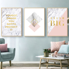 Yuke Art Pink Letter Marble Abstract Canvas Painting Wall Art Print Poster Picture Decorative Painting Living Room Home