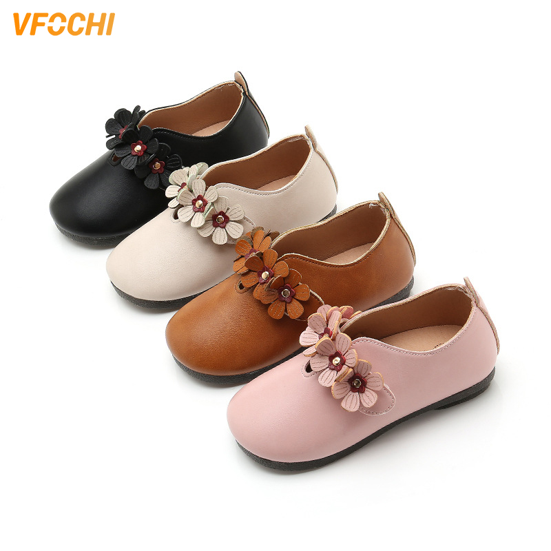 VFOCHI New Girls Leather Shoes For Kids Low Heeled Girls Casual Shoes Children Party Wedding Shoes Teenager Girls Dress Shoes