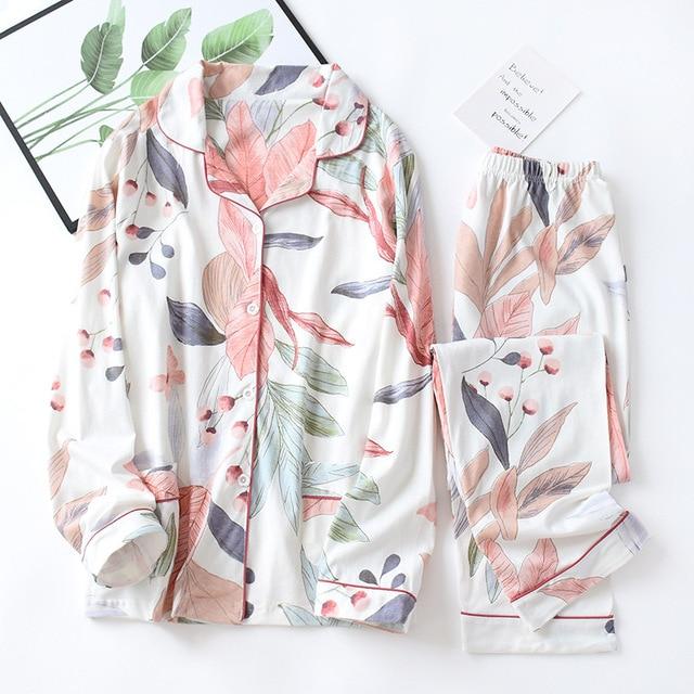 ملابس نوم نسائية بأكمام طويلة لفصل الخريف 100% طقم بيجاما محاكة من القطن بدوره إلى أسفل الياقة يترك الطباعة بيجامات ملابس النوم للاستلقاء
