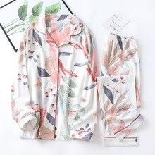 Femmes à manches longues vêtements de nuit automne 100% coton tricoté pyjama ensemble col rabattu feuilles impression pyjamas vêtements de nuit