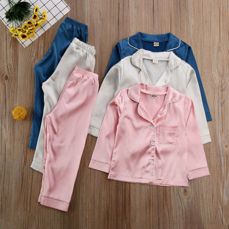 Childrens Kids Pyjamas Silk Satin Tops Pant Autumn Winter Long Sleeve Sleepwear Nightwear Girl Boy Pajama Sets 4