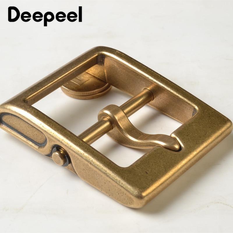 Deepeel 1pc 40mm Solid Brass Metal Belt Buckle Men Women Belt Head For Belt Metal Pin Buckle DIY Leather Craft Jeans Accessories