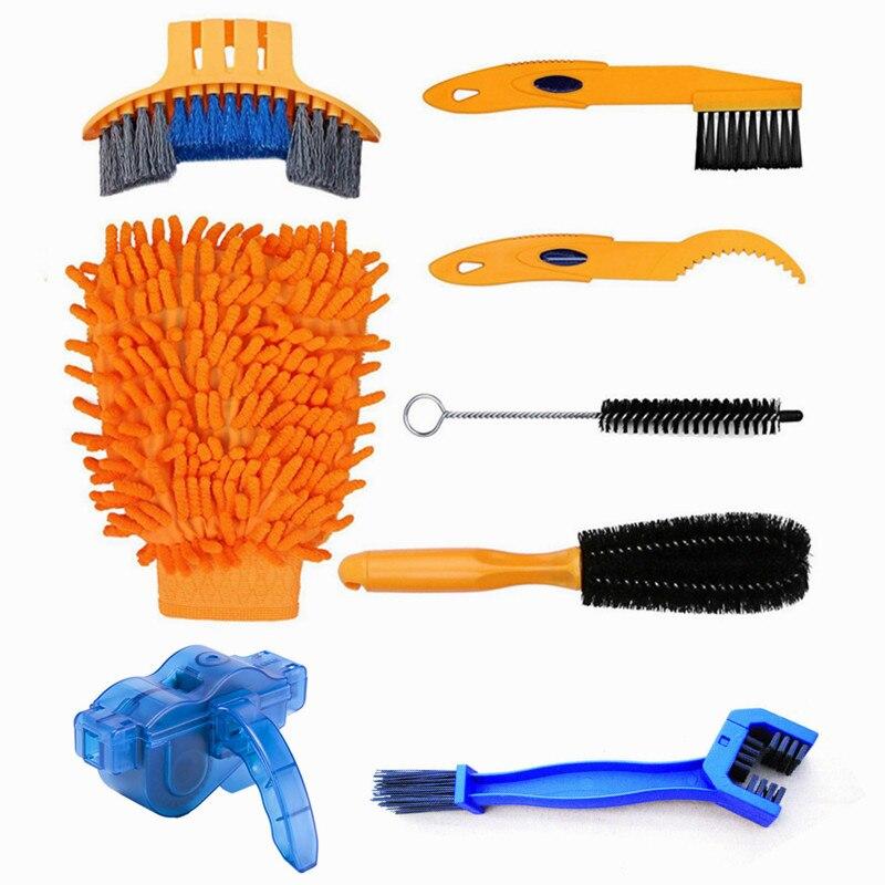 Ensemble de nettoyage de chaîne de vélo boîte à chaîne accessoires de vélo de montagne outils d'entretien nettoyage grande brosse à cheveux