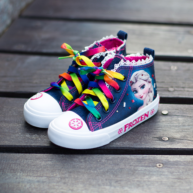 Girls Canvas Shoes Frozen Aisha Princess Girls Denim Shoes Spring Board Shoe Big Kids Casual Single Shoes Lace-Up Anti-Slippery