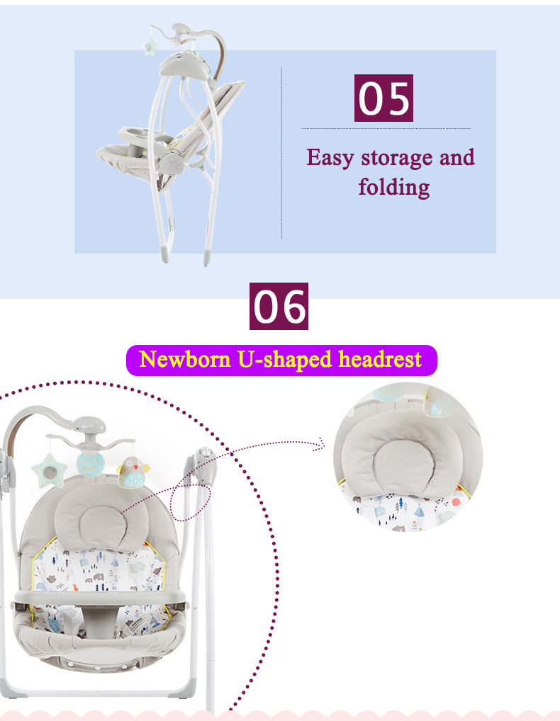 H2e46c7f933e645de842f50270073122eF Babyinner Baby Rocking Chair Baby Bassinet Newborn Electric Cradle Foldable Baby Chair Multifunctional Swing Baby Sleeping Bed