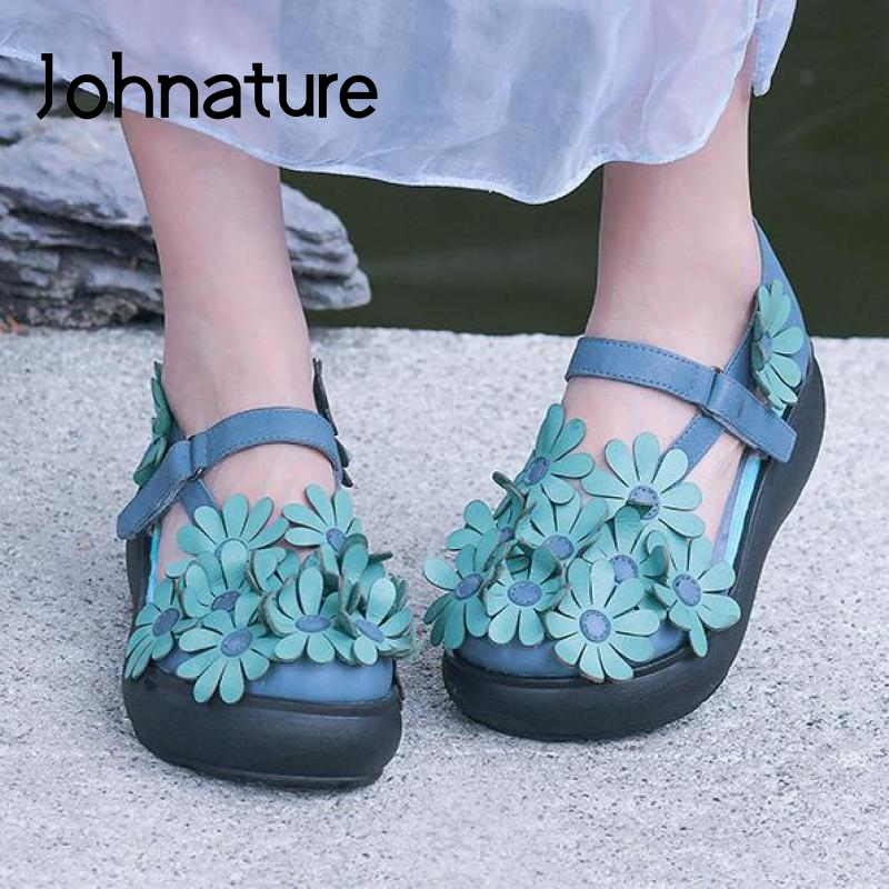 Johnature High Heels Sandals Women Shoes Genuine Leather Retro 2020 New Summer Hook & Loop Casual Platform Sandals Lady Sandals
