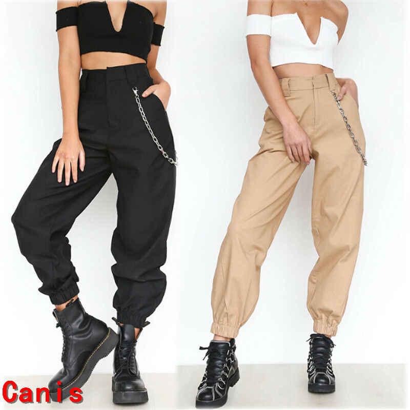 Yeni kadın Safari Tarzı Gevşek Spor Rahat Uzun Pantolon Düz Serseri Yüksek Bel Kargo Pantolon Moda Siyah Haki 2 renkler