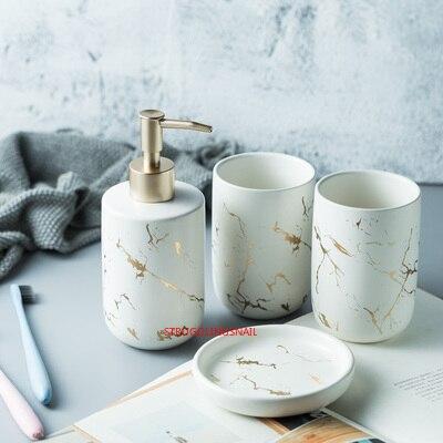 Ceramic Bathroom Accessory Set Washing Tools Water Bottle Mouthwash Cup Imitation Marble Soap Dish Toothbrush Holder