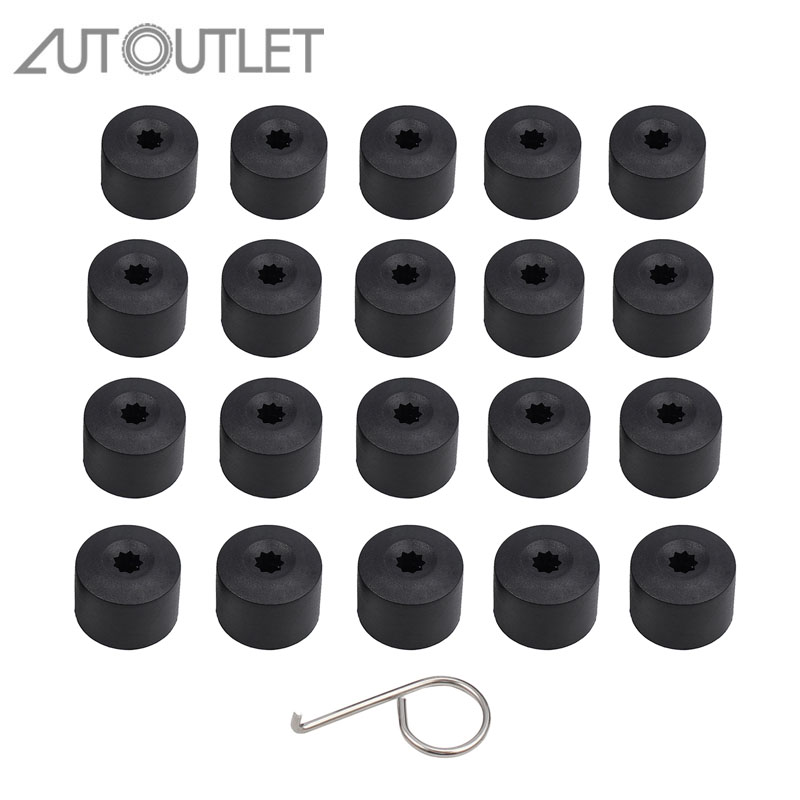 AUTOUTLET for 20 Pcs <font><b>Car</b></font> <font><b>Wheel</b></font> <font><b>Nut</b></font> Auto Hub <font><b>Wheel</b></font> Bolt <font><b>Nut</b></font> <font><b>Caps</b></font> Covers For Volkswagen Golf Bora Passat Audi 17mm image