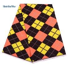 6 Yards Ankara Fabric Plaid African Print For Women Dress Wax binta real Fabrics Real Dutch FP6172